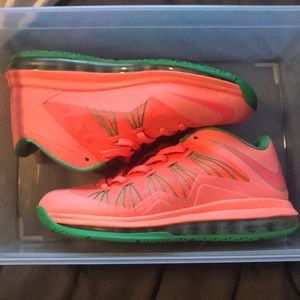 lebron 10 low watermelon size 8 like new